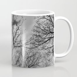 Trees and clouds, black and white Coffee Mug