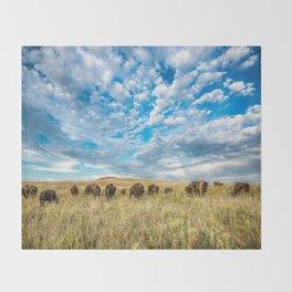 Grazing - Bison Graze Under Big Sky on Oklahoma Prairie Throw Blanket