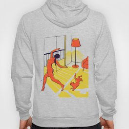 Dancing with the cat | Moody sunset light and shadows Aesthetic Green room Naked dance Femme Fatale Hoody