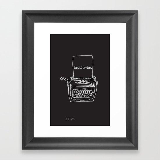 Vintage typewriter negative Framed Art Print