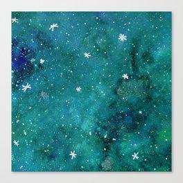 Watercolor galaxy - teal Canvas Print