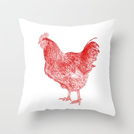 red rooster drawing, red Throw Pillow