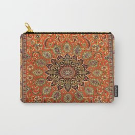 Central Persia Qum Old Century Authentic Colorful Orange Yellow Green Vintage Patterns Carry-All Pouch