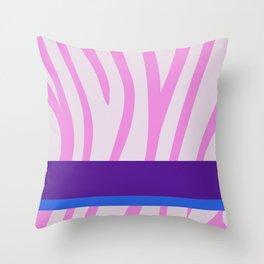 Pink/White Zebra Stripe Pattern w/ Royal Purple/Blue Divider Lines - Abstract Art #ArtofGaneneK Throw Pillow