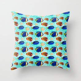 Colourful Tropical Reef Fish Pattern Throw Pillow