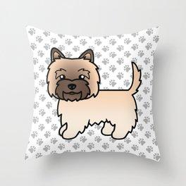 Cute Wheaten Cairn Terrier Dog Cartoon Illustration Throw Pillow