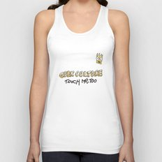 Geek culture / touch me, too Unisex Tank Top