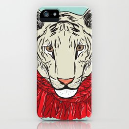 Merry Christmas New Year's card design Tiger head in a red knitted sweater and a scarf. Sketch iPhone Case