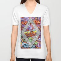 graffiti V-neck T-shirts featuring Graffiti by Az One Graffiti