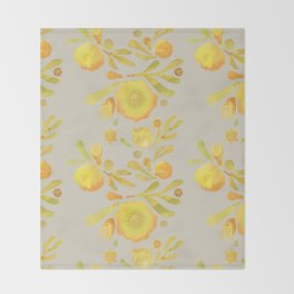 Granada Floral in Yellow on grey Throw Blanket