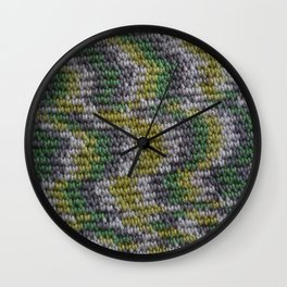 Green Textured Crochet Print Wall Clock