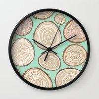 tree rings Wall Clocks featuring Tree Rings by Jackie Sullivan