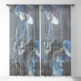 Metallic Ocean III Sheer Curtain