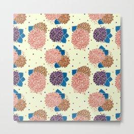 Watercolor coral brown blue hand painted floral polka dots Metal Print
