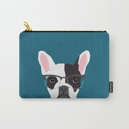 Hadley  - French Bulldog wearing hipster glasses perfect for dog lovers and owners, dog people Carry-All Pouch