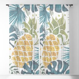 Golden pineapple on palm leaves foliage Sheer Curtain