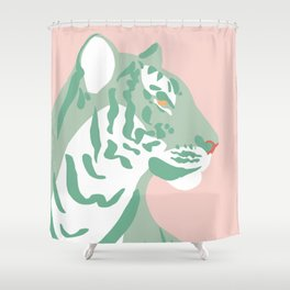 Tiger - Green and Pink Shower Curtain