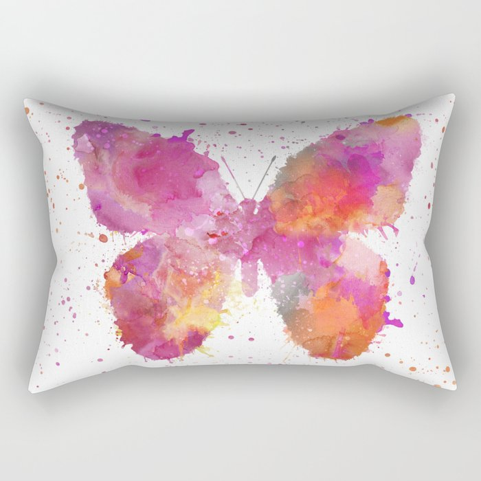 Artsy Butterfly colorful watercolor art Rectangular Pillow