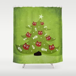 Cat Christmas Tree Shower Curtain