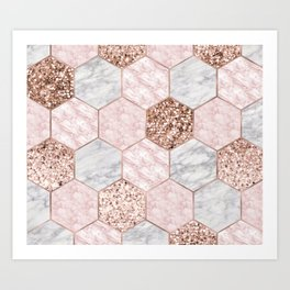 Rose gold dreaming - marble hexagons Art Print