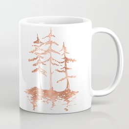 Three Sisters Trees Rose Gold on White Coffee Mug