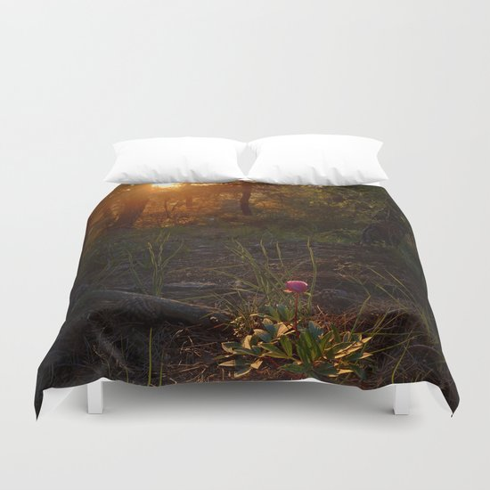 """""""Flower Into The Woods"""" Happy Peony looking for the last sun.. Duvet Cover"""
