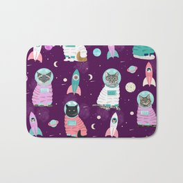 Space Cats pet portraits cute cat gifts cat lady outer space cadet rockets Bath Mat