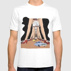 Abides Ride SMALL White Mens Fitted Tee