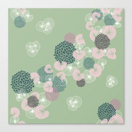 Floral Seamless Pattern on Green Canvas Print