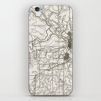 dallas iPhone & iPod Skins featuring Dallas Map by Zeke Tucker