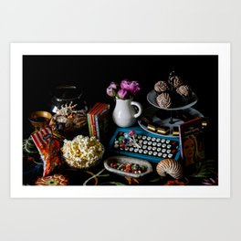 Still Life with Blue Typewriter and Snacks Art Print