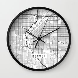Denver Map, USA - Black and White Wall Clock