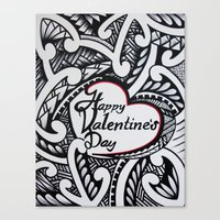 valentines Canvas Prints featuring Valentines by Lonica Photography & Poly Designs