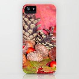 Arbores autumnales modus nucibus pineis oportebit, rosa coxis et hazelnuts iPhone Case