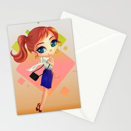 littlegirl with bag Stationery Cards