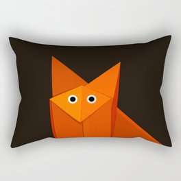 Dark Geometric Cute Origami Fox Rectangular Pillow