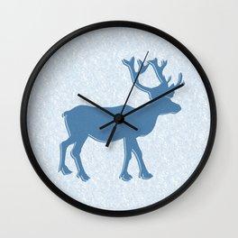 Majestic Blue Reindeer Wall Clock