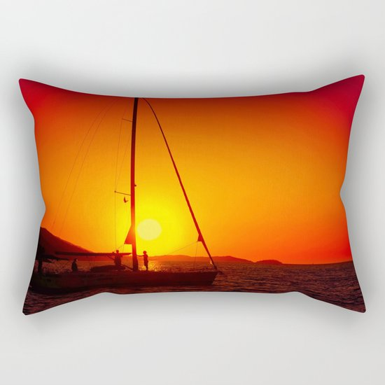 A sailboat at sunset Rectangular Pillow