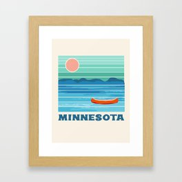 Minnesota travel poster retro vibes 1970's style throwback retro art state usa prints Framed Art Print