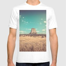 Vintage Landscape - Devil's Tower National Monument Wyoming White MEDIUM Mens Fitted Tee