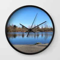 trout Wall Clocks featuring Trout Lake by RMK Photography