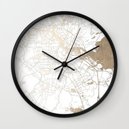 Amsterdam White on Gold Street Map II Wall Clock