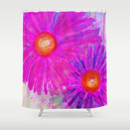 Bright Pink Sketch Flowers Shower Curtain