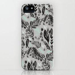 Ink jungle leaves iPhone Case