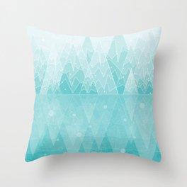 Geometric Lake Mountain IV - Winter Throw Pillow