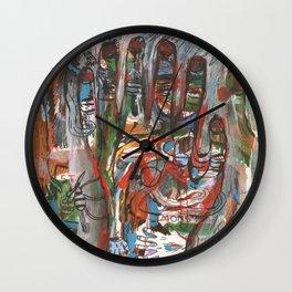 Mà abstracta de colors amb monstre a l 'esquerra Wall Clock