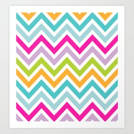 Bright Stripe Chevron Art Print