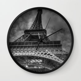 Black And White Eiffel Tower Wall Clock