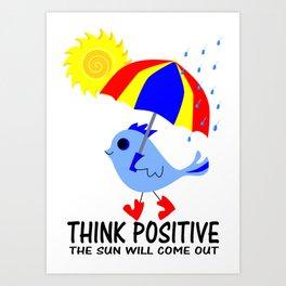 Blue Bird Think Positive Image Art Print