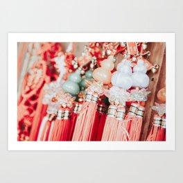 Colorful Thai pendants with beads on Thai market Art Print